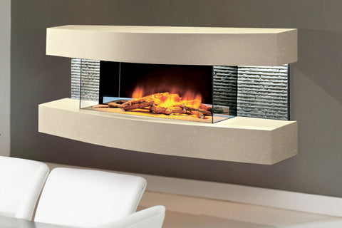 Evolution Fires Miami Curve 48 inch Wall Mount Electric Fireplace | Marfil | EFMCM | Electric Fireplaces Depot
