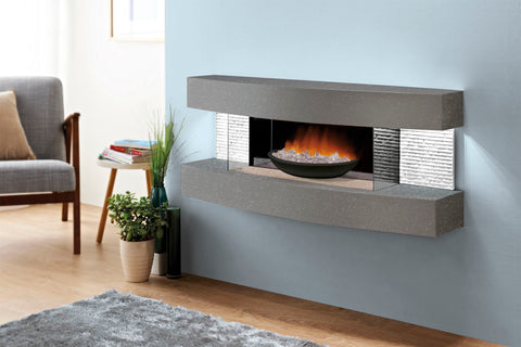 Image of Evolution Fires Miami Curve 48 inch Fire Pit Electric Fireplace Carrara Gray | Black Bowl | EFMCFPCBB | Electric Fireplaces Depot