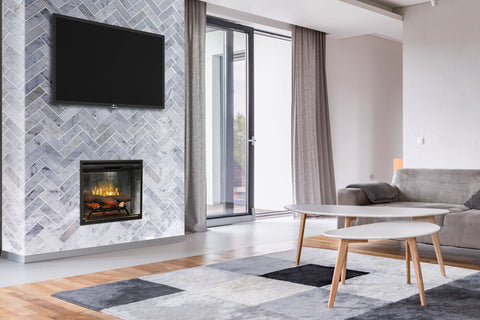 Image of Dimplex Revillusion 24 inch Built In Electric Fireplace Weathered Concrete - Firebox - Heater - RBF24DLXWC - Electric Fireplaces Depot