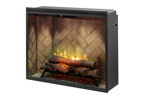 Image of Dimplex Revillusion Portrait 36 inch Built-In Electric Fireplace with Herringbone Brick - Electric Firebox - RBF36P - Electric Fireplaces Depot