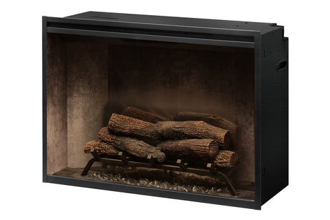 Dimplex Revillusion 36 inch Built In Electric Fireplace Weathered Concrete - Firebox - Heater - RBF36WC - Electric Fireplaces Depot