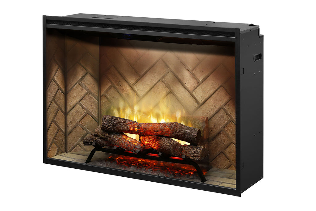 Dimplex Revillusion 42 inch Built-In Electric Fireplace with Herringbone Brick - Firebox - Heater - RBF42 - Electric Fireplaces Depot