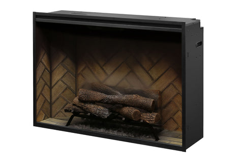 Image of Dimplex Revillusion 42 inch Built-In Electric Fireplace with Herringbone Brick - Firebox - Heater - RBF42 - Electric Fireplaces Depot