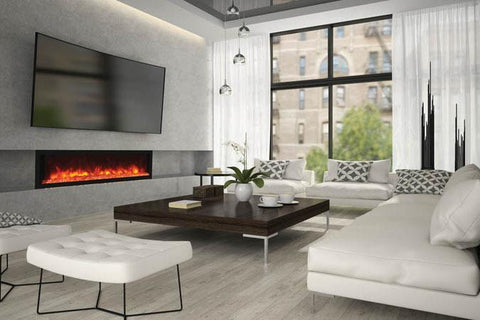 Remii 65 Inch Extra Deep Built-In Electric Fireplace - Heater - Modern - Electric Fireplaces Depot