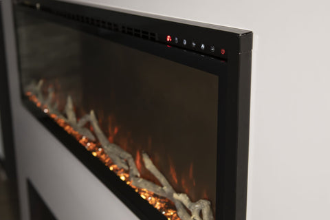 Image of Modern Flames Spectrum Slimline 60 inch Wall Mount Built in Electric Fireplace Insert | Fully Recessed 4'' Wall | SPS-60B | Electric Fireplaces Depot