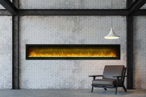 Image of Amantii Symmetry 100'' Built In Fully Recessed Flush Mount Linear Electric Fireplace | SYM-100 | Electric Fireplaces Depot