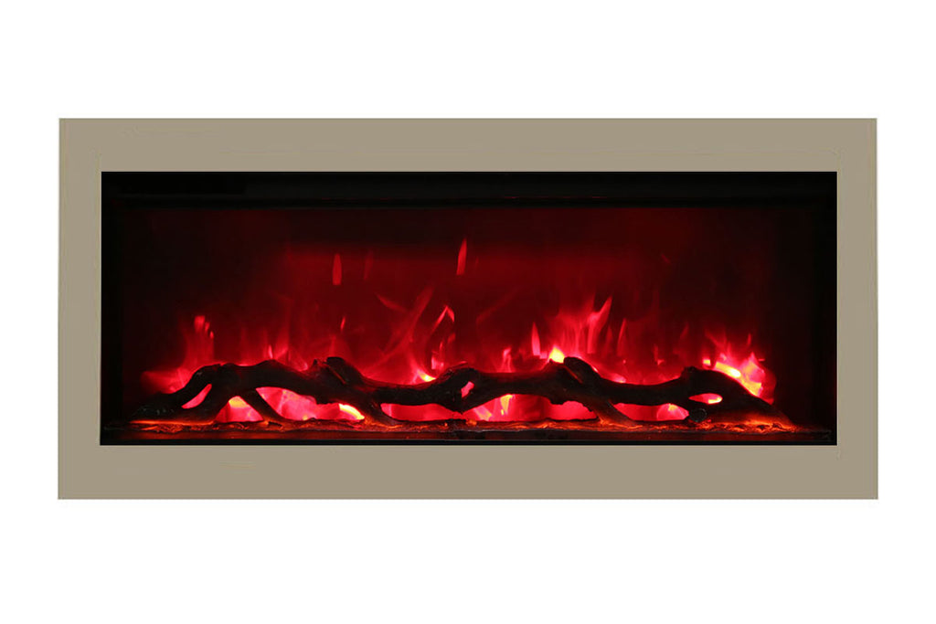 Amantii Symmetry 34'' Built In Fully Recessed Flush Mount Linear Electric Fireplace | SYM-34 | Electric Fireplaces Depot