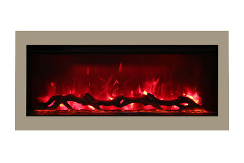 Image of Amantii Symmetry 34'' Built In Fully Recessed Flush Mount Linear Electric Fireplace | SYM-34 | Electric Fireplaces Depot