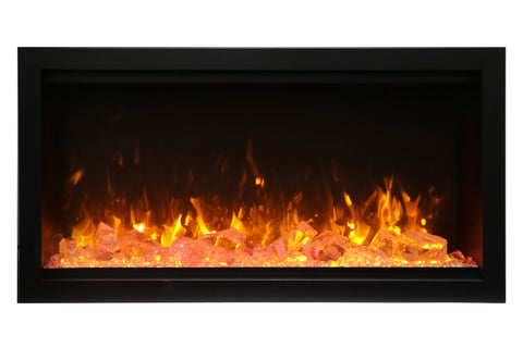 Amantii Symmetry 42'' Built In Fully Recessed Flush Mount Linear Electric Fireplace | Extra Tall Deep | SYM-42-XT | Electric Fireplaces Depot