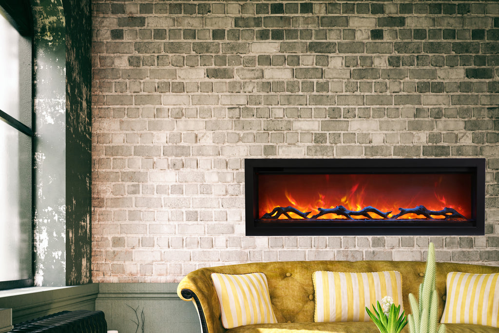 Amantii Symmetry 50'' Built In Fully Recessed Flush Mount Linear Electric Fireplace | SYM-50 | Electric Fireplaces Depot
