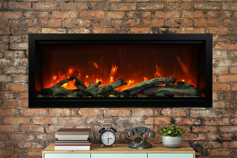 Amantii Symmetry 50'' Built In Fully Recessed Flush Mount Linear Electric Fireplace | Extra Tall Deep | SYM-50-XT | Electric Fireplaces Depot