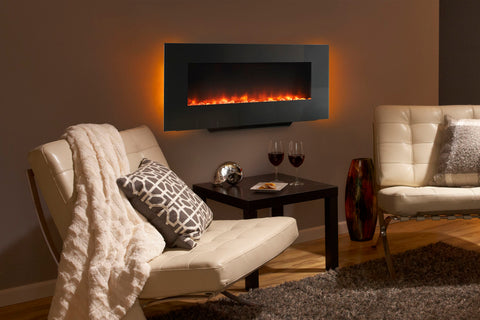 Hearth & Home SimpliFire 38-inch Wall Mount Freestanding Linear Electric Fireplace | SF-WM38-BK | Electric Fireplaces Depot