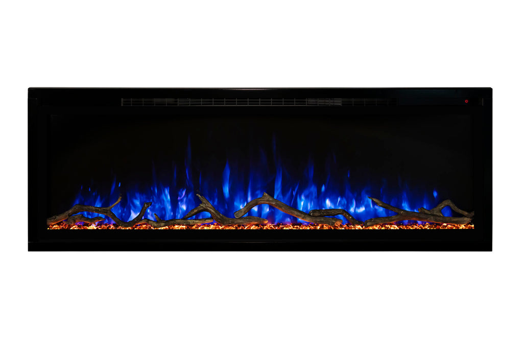 Modern Flames Spectrum Slimline 100 inch Wall Mount Built in Electric Fireplace Insert | Fully Recessed 4'' Wall | SPS-100B | Electric Fireplaces Depot