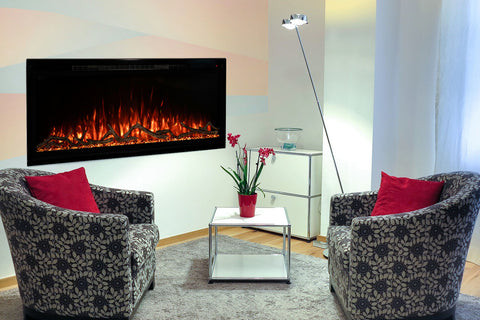 Image of Modern Flames Spectrum Slimline 100 inch Wall Mount Built in Electric Fireplace Insert | Fully Recessed 4'' Wall | SPS-100B | Electric Fireplaces Depot