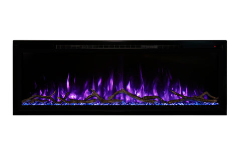Modern Flames Spectrum Slimline 74 inch Wall Mount Built in Electric Fireplace | Fully Recessed 4'' Wall | SPS-74B | Electric Fireplaces Depot