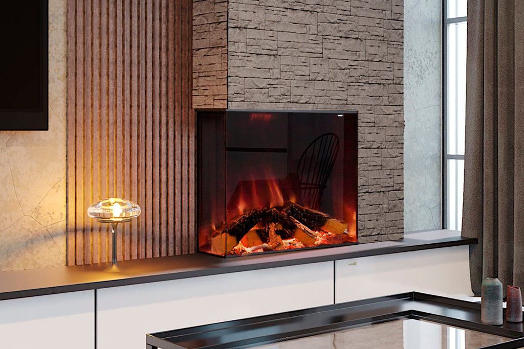 Electric Modern Evonicfires Halo Series Tyrell 32 inch Built-In 2-sided Corner Electric Fireplace Firebox | EV-FP-Halo-TYRELL | Electric Fireplaces Depot