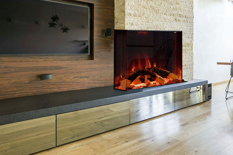 Image of Electric Modern Evonicfires Halo Series Tyrell 32 inch Built-In 2-sided Corner Electric Fireplace Firebox | EV-FP-Halo-TYRELL | Electric Fireplaces Depot