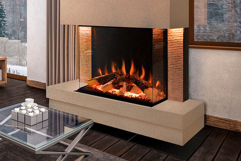 Electric Modern Evonicfires Halo Series Tyrell 32 inch Built-In 3-sided Electric Fireplace Firebox | EV-FP-Halo-TYRELL | Electric Fireplaces Depot
