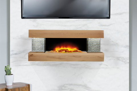 Image of Evolution Fires Vegas 48 inch Wall Mount Electric Fireplace American Oak | EFVPOA | Electric Fireplaces Depot
