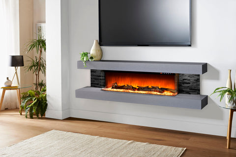 Image of Evolution Fires Vegas 72 inch Wall Mount Electric Fireplace Carrara Grey | Black Side Panels | EFV72BTC | Electric Fireplaces Depot
