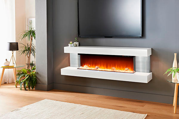 Evolution Fires Vision 63 inch Wall Mount 3-sided Electric Fireplace White | Stainless Steel Sides | EFVBGPW | Electric Fireplaces Depot