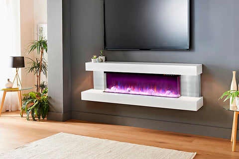 Image of Evolution Fires Vision 63 inch Wall Mount 3-sided Electric Fireplace White | Stainless Steel Sides | EFVBGPW | Electric Fireplaces Depot