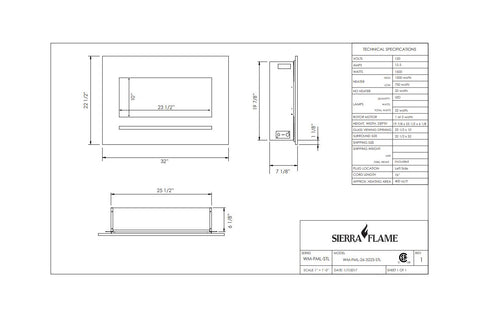 Sierra Flame 32 inch Wall Mount Linear Electric Fireplace - Heater - Dimensions - Electric Fireplaces Depot