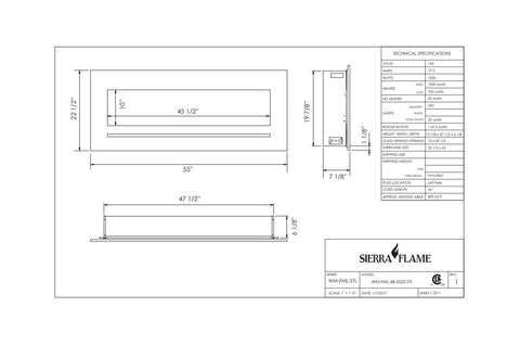 Sierra Flame 55 inch Wall Mount Linear Electric Fireplace - Heater - Dimensions - Electric Fireplaces Depot