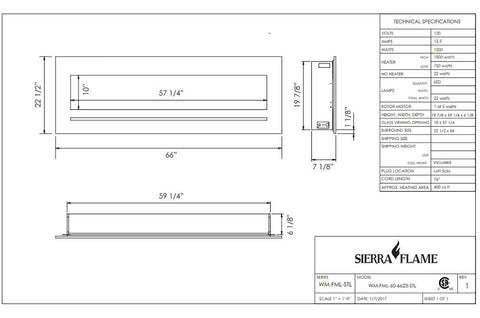 Sierra Flame 66 inch Wall Mount Linear Electric Fireplace - Heater - Dimensions - Electric Fireplaces Depot