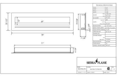 Sierra Flame 78 inch Wall Mount Linear Electric Fireplace - Heater - Dimensions - Electric Fireplaces Depot