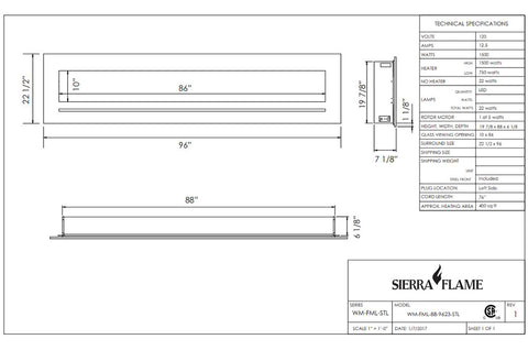 Image of Sierra Flame 96 inch Wall Mount Linear Electric Fireplace - Heater - Dimensions - Electric Fireplaces Depot