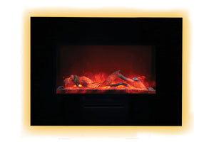 Amantii 36 inch Built In Flush Mount Wall Mount Linear Electric Fireplace | Black or White | WM-FM-26-3623-BG | Electric Fireplaces Depot