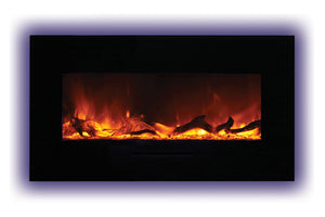 Amantii 34 inch Built In Flush Mount Wall Mount Linear Electric Fireplace | Black or White | WM-FM-34-4423-BG | Electric Fireplaces Depot