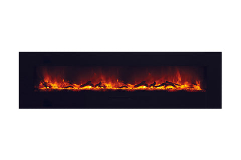 Amantii 81 inch Built In Flush Mount Wall Mount Linear Electric Fireplace | Black or White | WM-FM-72-8123-BG | Electric Fireplaces Depot