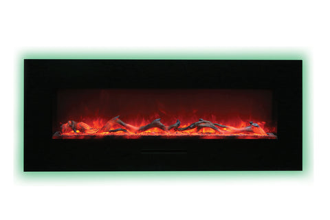 Amantii 48 inch Built In Flush Mount Wall Mount Linear Electric Fireplace | Black or White | WM-FM-48-5823-BG | Electric Fireplaces Depot