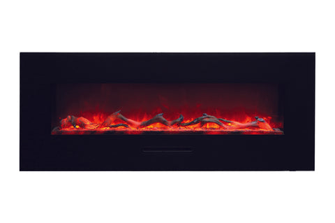 Amantii 58 inch Built In Flush Mount Wall Mount Linear Electric Fireplace | Black or White | WM-FM-48-5823-BG | Electric Fireplaces Depot
