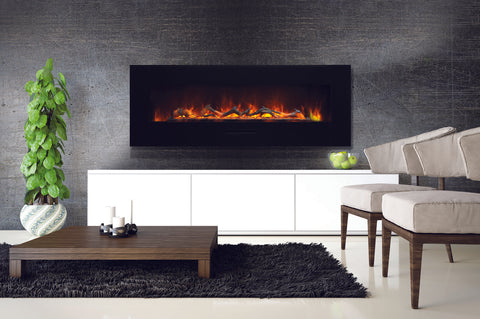 Amantii 70 inch Built In Flush Mount Wall Mount Linear Electric Fireplace | Black or White | WM-FM-60-7023-BG | Electric Fireplaces Depot