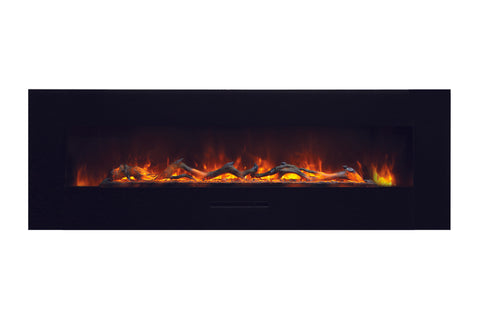 Amantii 60 inch Built In Flush Mount Wall Mount Linear Electric Fireplace | Black or White | WM-FM-60-7023-BG | Electric Fireplaces Depot