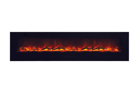 Image of Amantii 100 inch Built In Flush Mount Wall Mount Linear Electric Fireplace | Black or White | WM-FM-88-10023-BG | Electric Fireplaces Depot