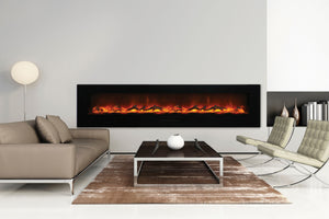 Amantii 100'' Built In Flush Mount / Wall Mount Linear Electric Fireplace