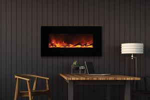 Amantii 34'' Built In Flush Mount / Wall Mount Linear Electric Fireplace