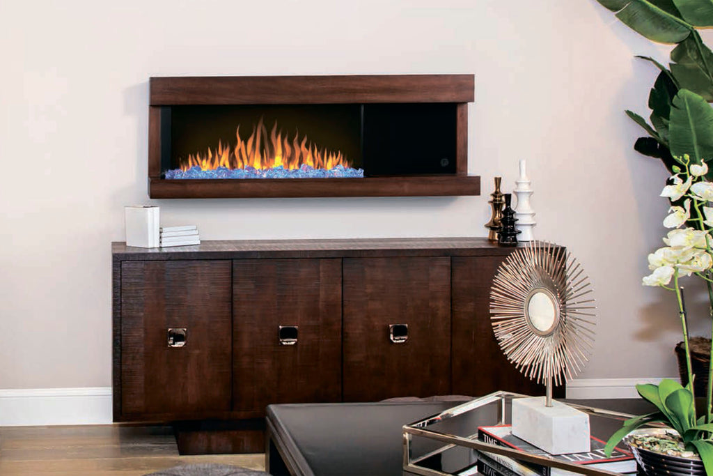 Napoleon Stylus Steinfeld Walnut Modern Wall Surface Mount Electric Fireplace with Shelf | Logs and Crystals | NEFP32-5320BW |  Electric Fireplaces Depot