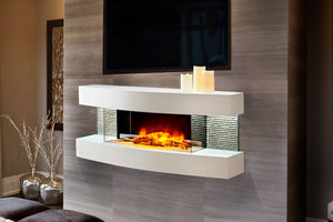 Evolution Fires Miami Curve 48'' Wall Mount 3-sided Electric Fireplace - Gloss White