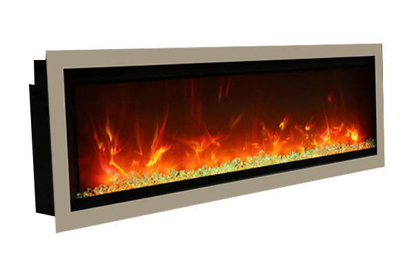 Amantii Symmetry 60'' Built In Fully Recessed Flush Mount Linear Electric Fireplace | SYM-60 | Electric Fireplaces Depot