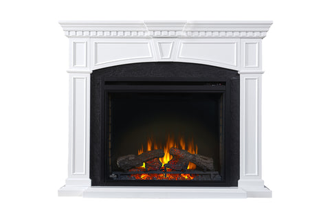 Image of Napoleon Taylor White Electric Fireplace Mantel Package - Cabinet - Heater - 33'' Firebox - NEFP33-0214W - Electric Fireplaces Depot