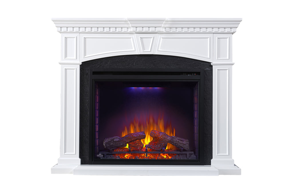 Napoleon Taylor White Electric Fireplace Mantel Package - Cabinet - Heater - 33'' Firebox - NEFP33-0214W - Electric Fireplaces Depot