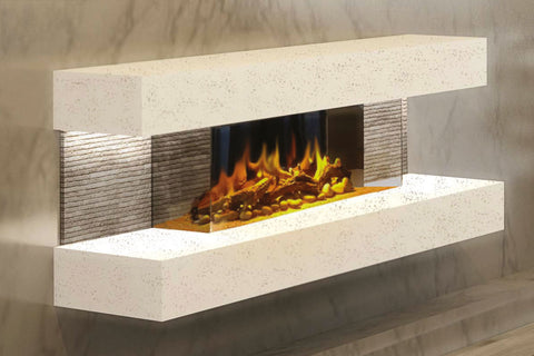 Image of Electric Modern Evonicfires 44 inch White Wall Mount 3-sided Electric Firepalce |  Compton 2 | Electric Fireplaces Depot