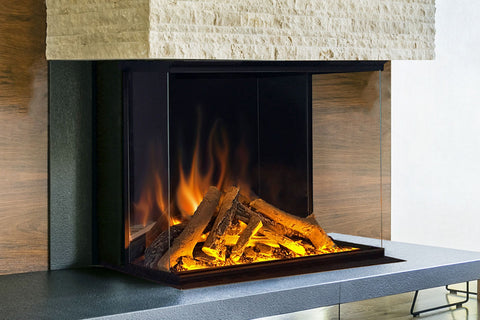 Image of Electric Modern Evonicfires 32 Inch Built-In Wall Mount 3-sided Electric Fireplace - E32-3S - Electric Fireplaces Depot
