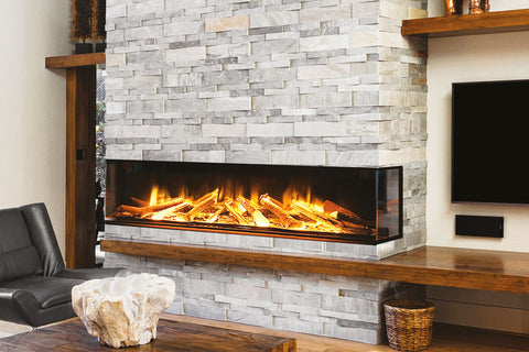 Electric Modern Evonicfires 72 Inch Built-In 3-sided Electric Fireplace - E72-3S - Electric Fireplaces Depot