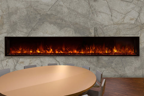 Image of Modern Flames Landscape Full View 100 inch Built-In Linear Electric Fireplace - Electric Fireplaces Depot